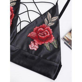 Embroidery PU Leather Criss Cross Crop Top - BLACK BLACK