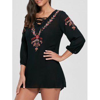 Embroidered Lace-up Shift Tunic Dress - BLACK BLACK