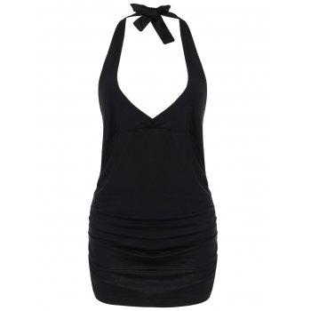 Halter Low Cut Backless Camisole - BLACK BLACK