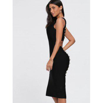 Back Cut Out Buttons Bandage Dress - BLACK BLACK