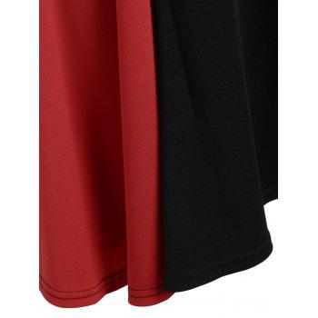 Color Block Asymmetrical Mini Dress - BLACK/RED BLACK/RED