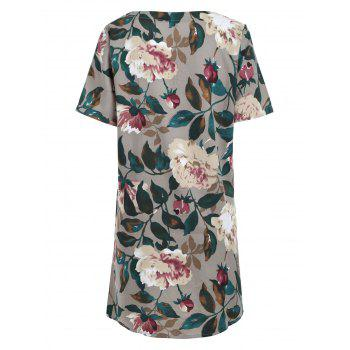 Floral Print Pocket Shift Tunic T-shirt Dress - COLORMIX COLORMIX