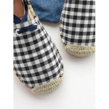 Stitching Tie Up Plaid Pattern Flat Shoes - CHECKED CHECKED