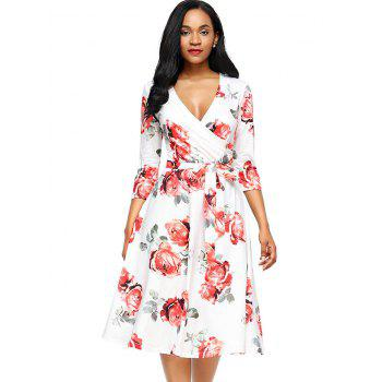 Flower Print Midi Wrap Dress - RED RED