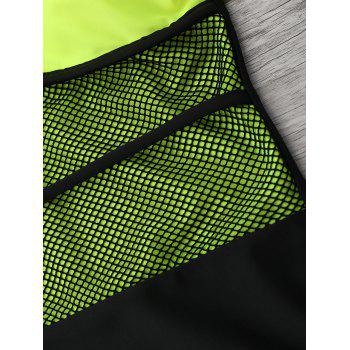 Color Block Fishnet Insert Swimwear - FLUORESCENT YELLOW FLUORESCENT YELLOW