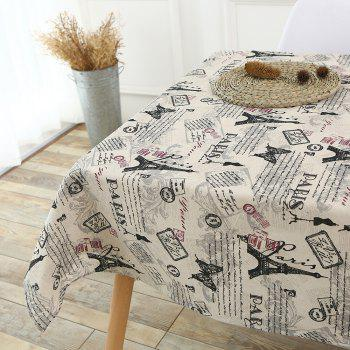 Kitchen Decor Tower Words Pattern Tablecloth - GRAY GRAY