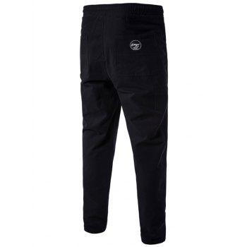 Side Pockets Drawstring Harem Pants - BLACK BLACK