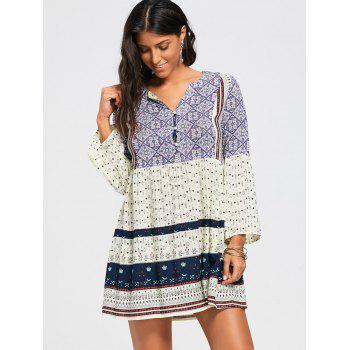 Three Quarter Sleeve V Neck Tunic Dress - COLORMIX COLORMIX