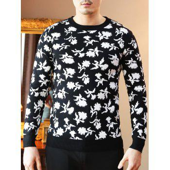 Floral Pattern Crew Neck Sweater - BLACK BLACK
