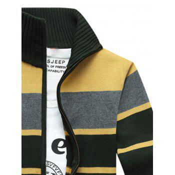 Zipper Front Stripe Cardigan - GREEN GREEN
