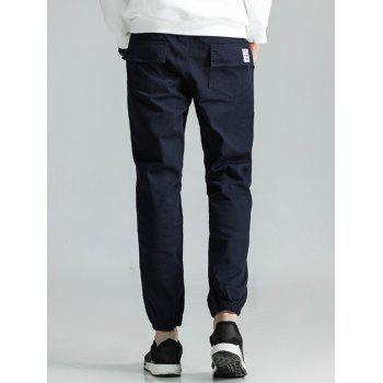Drawstring Back Pockets Beam Feet Jogger Pants - CADETBLUE CADETBLUE