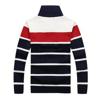 Zipper Front Stripe Cardigan - RED XL