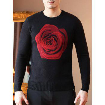 Rose Pattern Crew Neck Pullover Sweater - BLACK BLACK