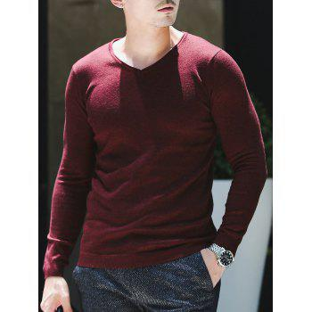 Plain V Neck Pullover Sweater - WINE RED WINE RED