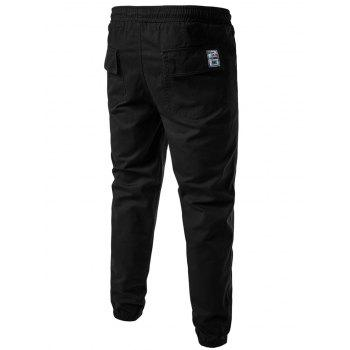 Drawstring Back Pockets Beam Feet Jogger Pants - BLACK BLACK