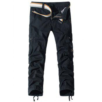 Pockets Embellished Straight Leg Cargo Pants - BLACK BLACK