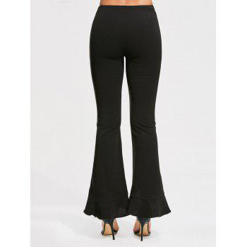 Fitted Flared Pants with Ruffles - BLACK BLACK