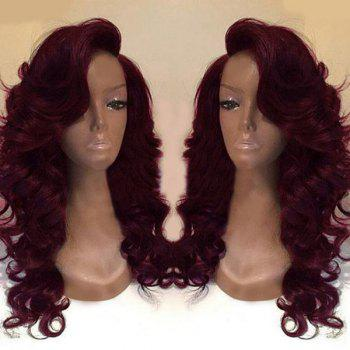 Deep Side Part Body Wave Long Synthetic Wig - WINE RED WINE RED