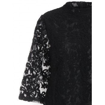 Mock Neck Overlay Min Lace Dress - Noir S