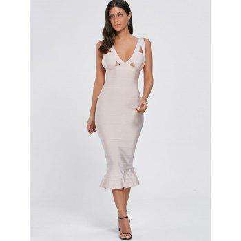 Cut Out Maxi Mermaid Bandage Dress - LIGHT BEIGE L