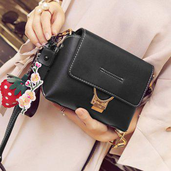 Hangings Metal Embellished Crossbody Bag - BLACK