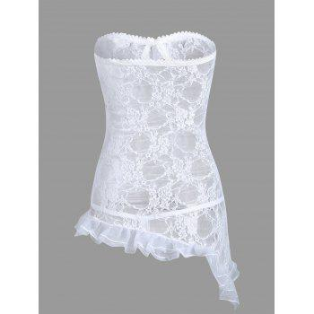 Strapless Lace Sheer Short Dress - WHITE WHITE
