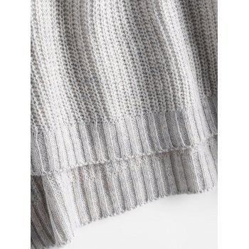 Lace Up Flare Sleeve High Low Sweater - GRAY ONE SIZE