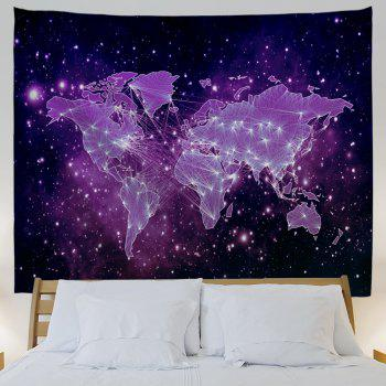 Galaxy World Map Print Tapestry Wall Hanging Art - PURPLE W71 INCH * L91 INCH