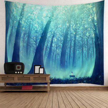 Sunlight Foggy Forest Hanging Wall Tapestry - BLUE/BLACK W79 INCH * L59 INCH