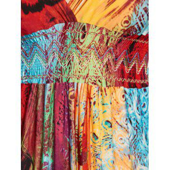 Plunging Neck Printed Floor Length Plus Size Dress - multicolorCOLOR 6XL