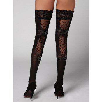 Lace Panel Overknee Stockings - BLACK BLACK
