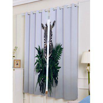 Lightproof 2Pcs Zebra Printed Window Curtains - GRAY W53 INCH * L63 INCH