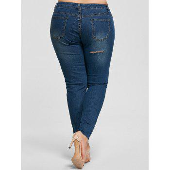 Plus Size Ankle Length Skinny Jeans - DENIM BLUE XL