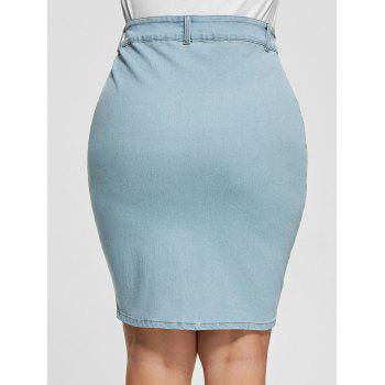 Light Wash Button Up Bodycon Denim Skirt - LIGHT BLUE XL