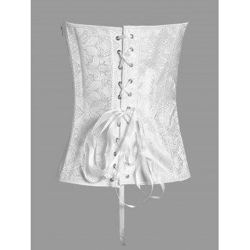 Jacquard Paisley Lace Up Plus Size Corset - WHITE 3XL