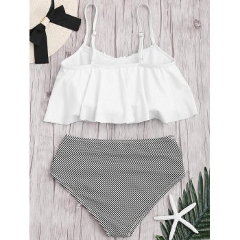 Plus Size High Waisted Striped Bikini Set - WHITE XL