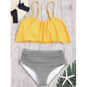 Plus Size High Waisted Striped Bikini Set