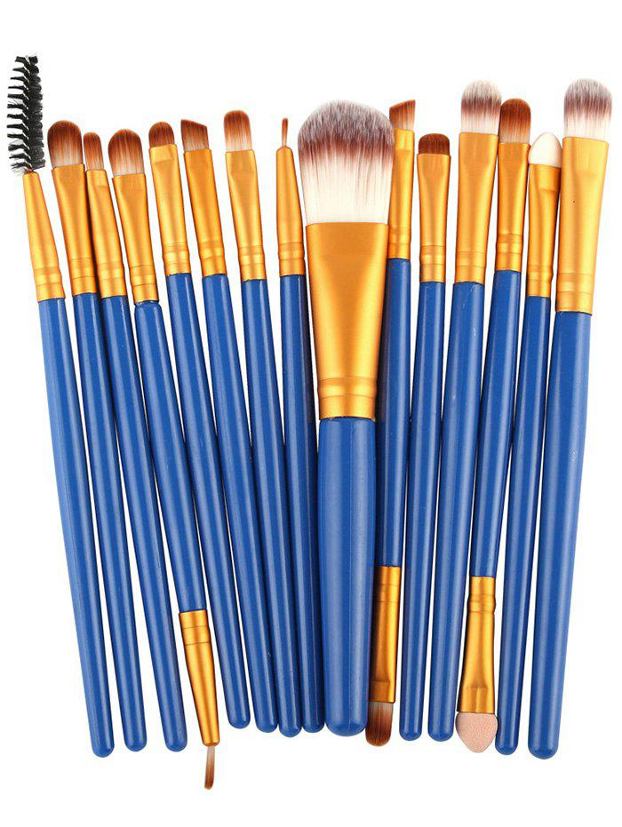 Practical Multifunction 15 Pcs Plastic Handle Nylon Makeup Brushes Set - BLUE/GOLDEN