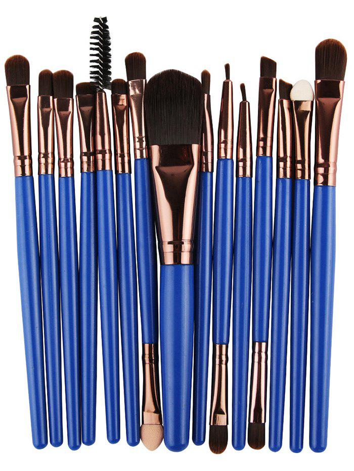 Practical Multifunction 15 Pcs Plastic Handle Nylon Makeup Brushes Set - BLUE/BROWN