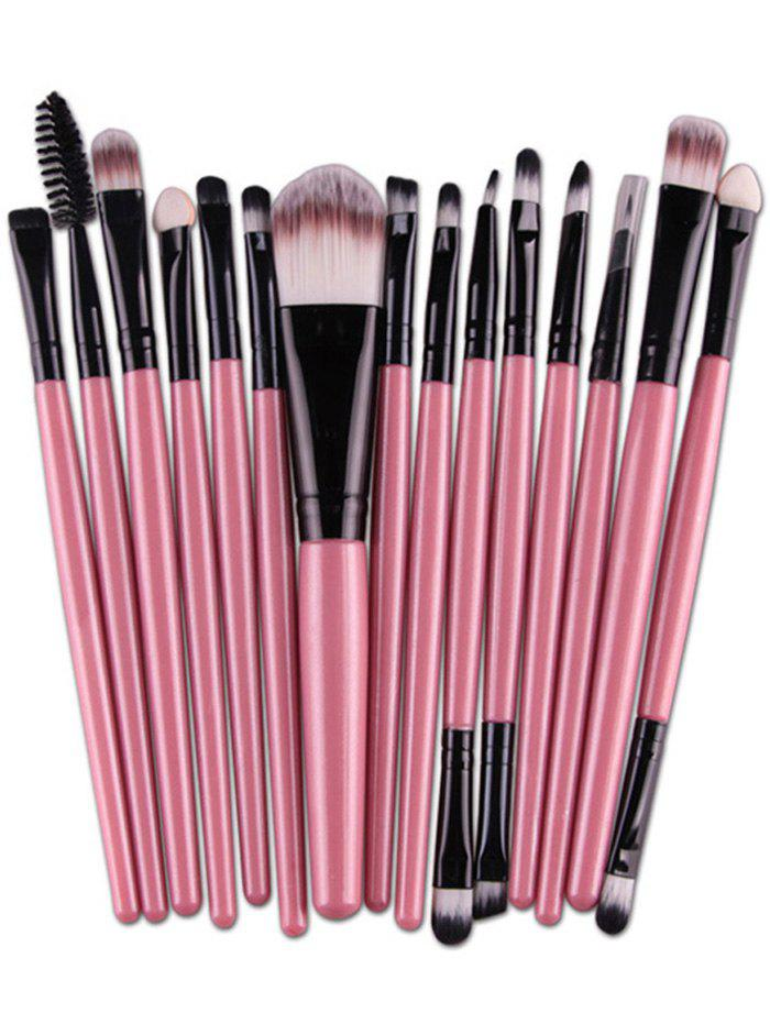 Practical Multifunction 15 Pcs Plastic Handle Nylon Makeup Brushes Set - PINK