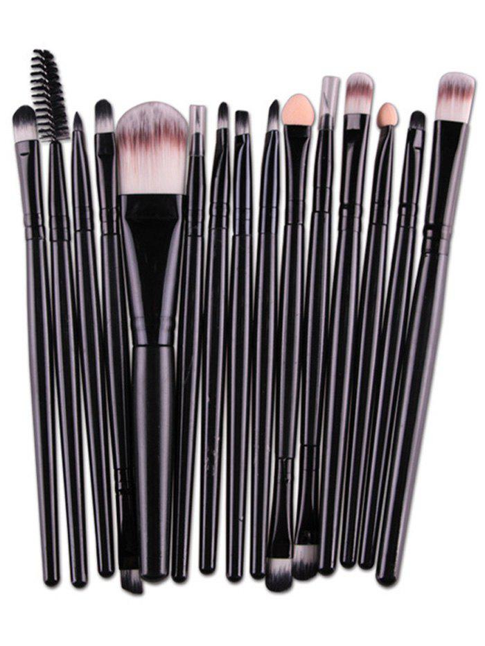 Practical Multifunction 15 Pcs Plastic Handle Nylon Makeup Brushes Set - BLACK