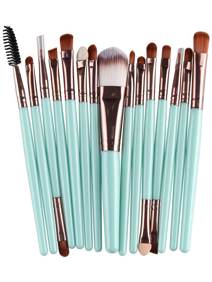 Practical Multifunction 15 Pcs Plastic Handle Nylon Makeup Brushes Set - GREEN / BROWN