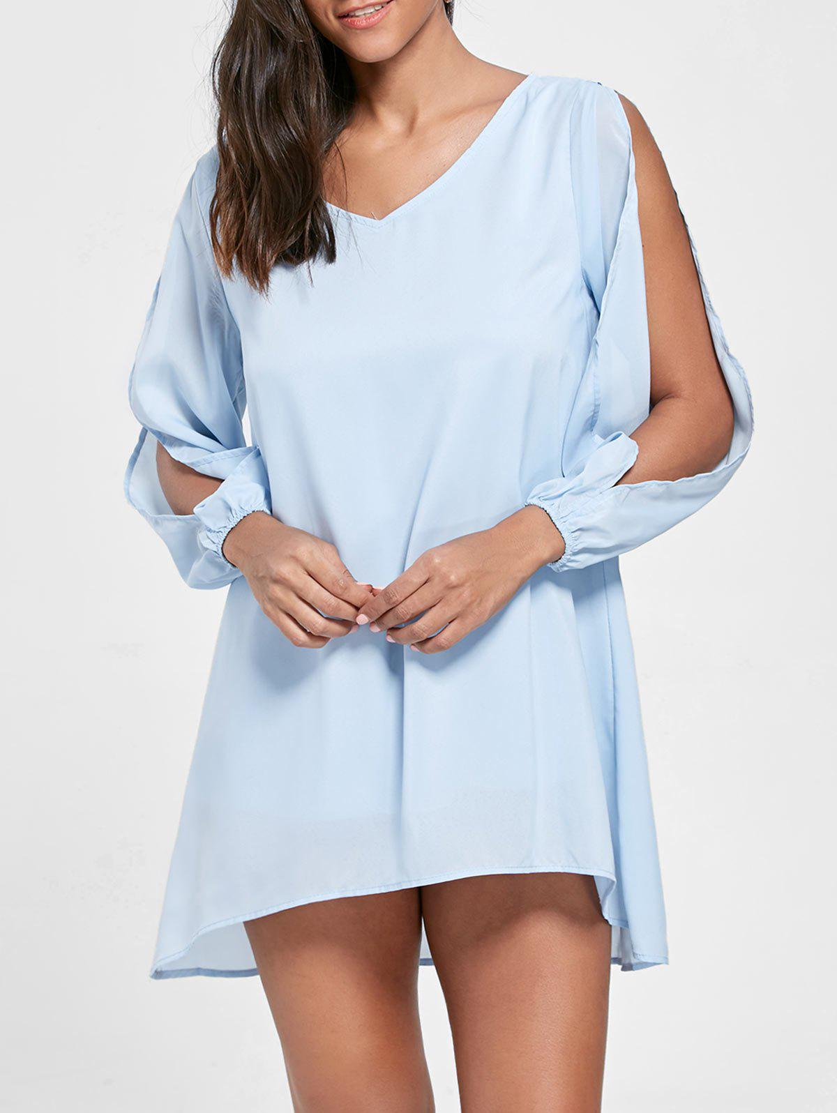 Split Sleeve V Neck Tunic Dress - AZURE M