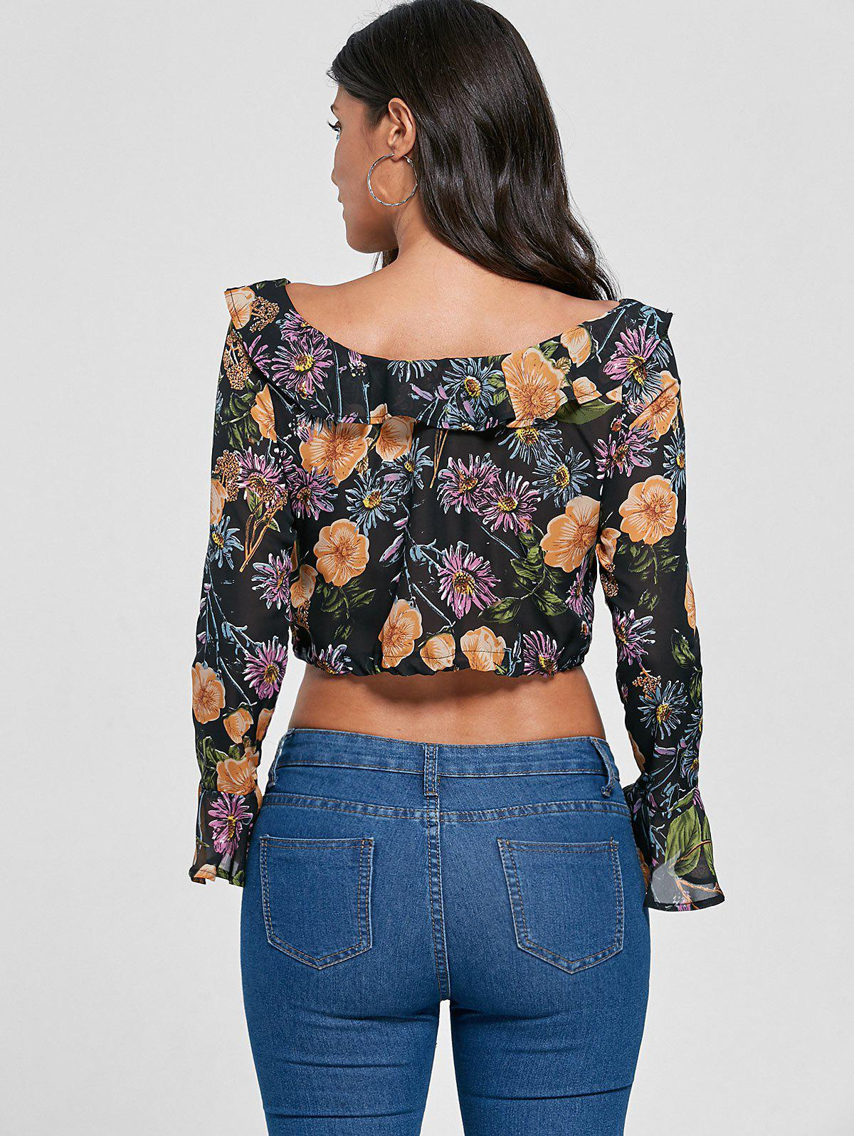 Flare Sleeve Flounce Floral Crop Top - FLORAL S