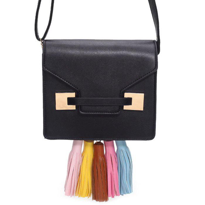 Tassels Metal Detail Crossbody Bag - Noir