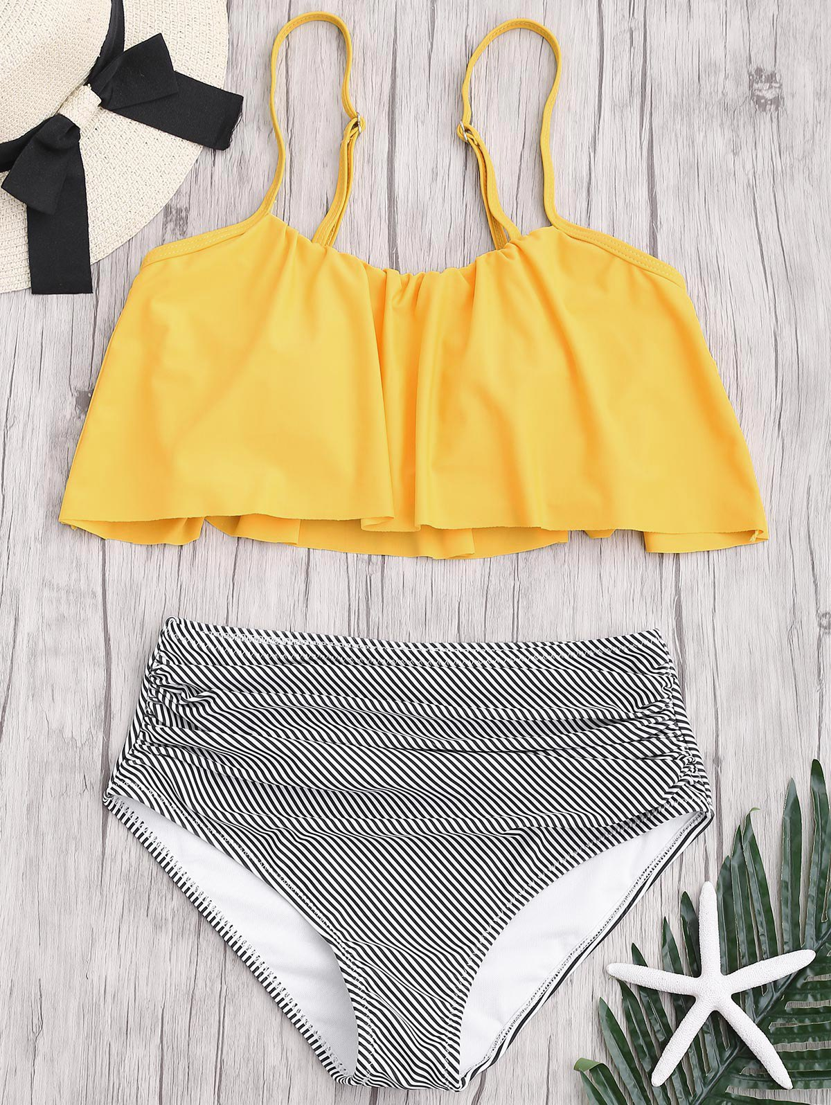 Plus Size High Waisted Striped Bikini Set - YELLOW XL