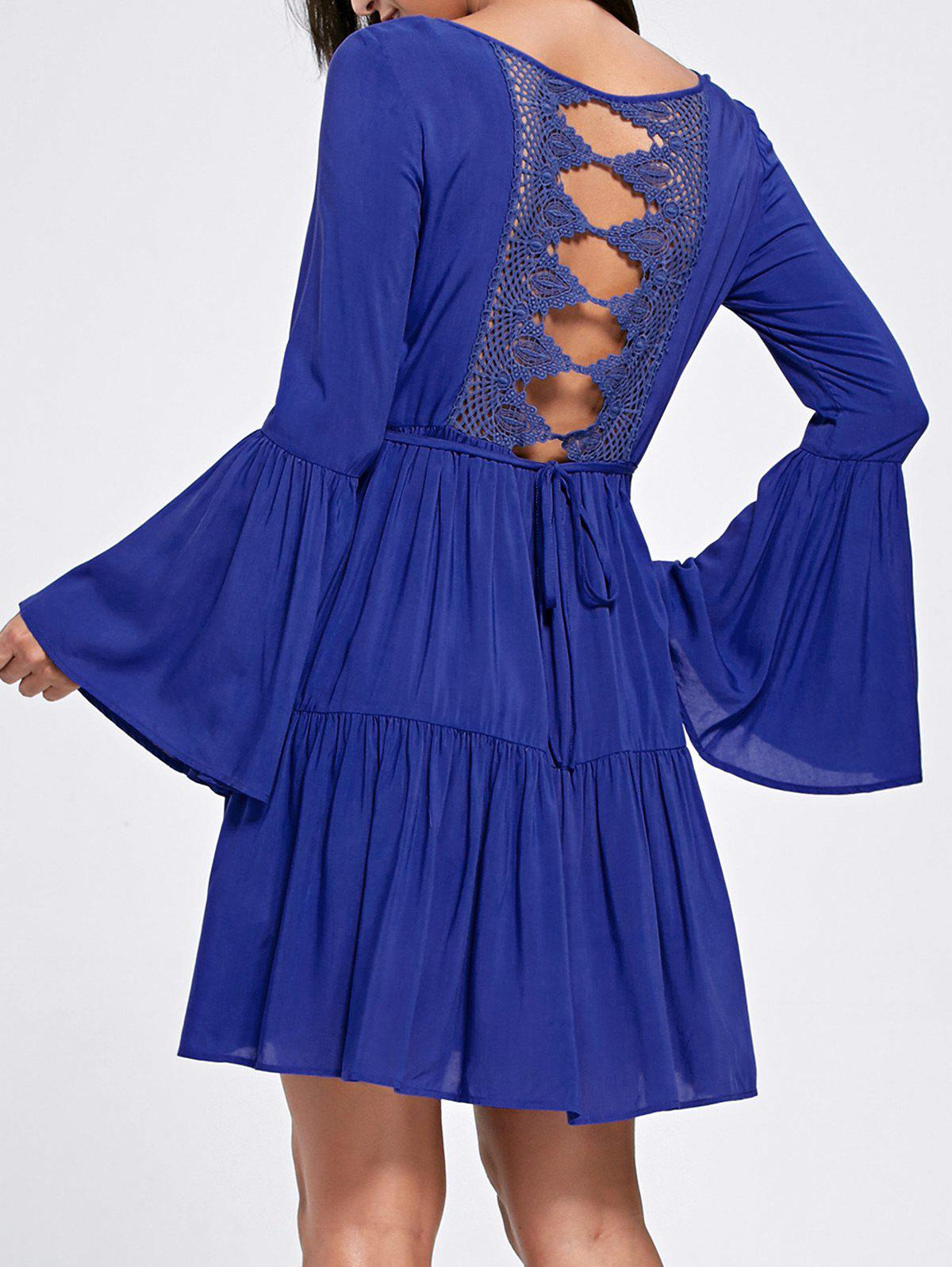 Flare Sleeve Crochet Panel Flounce Dress - DEEP BLUE L