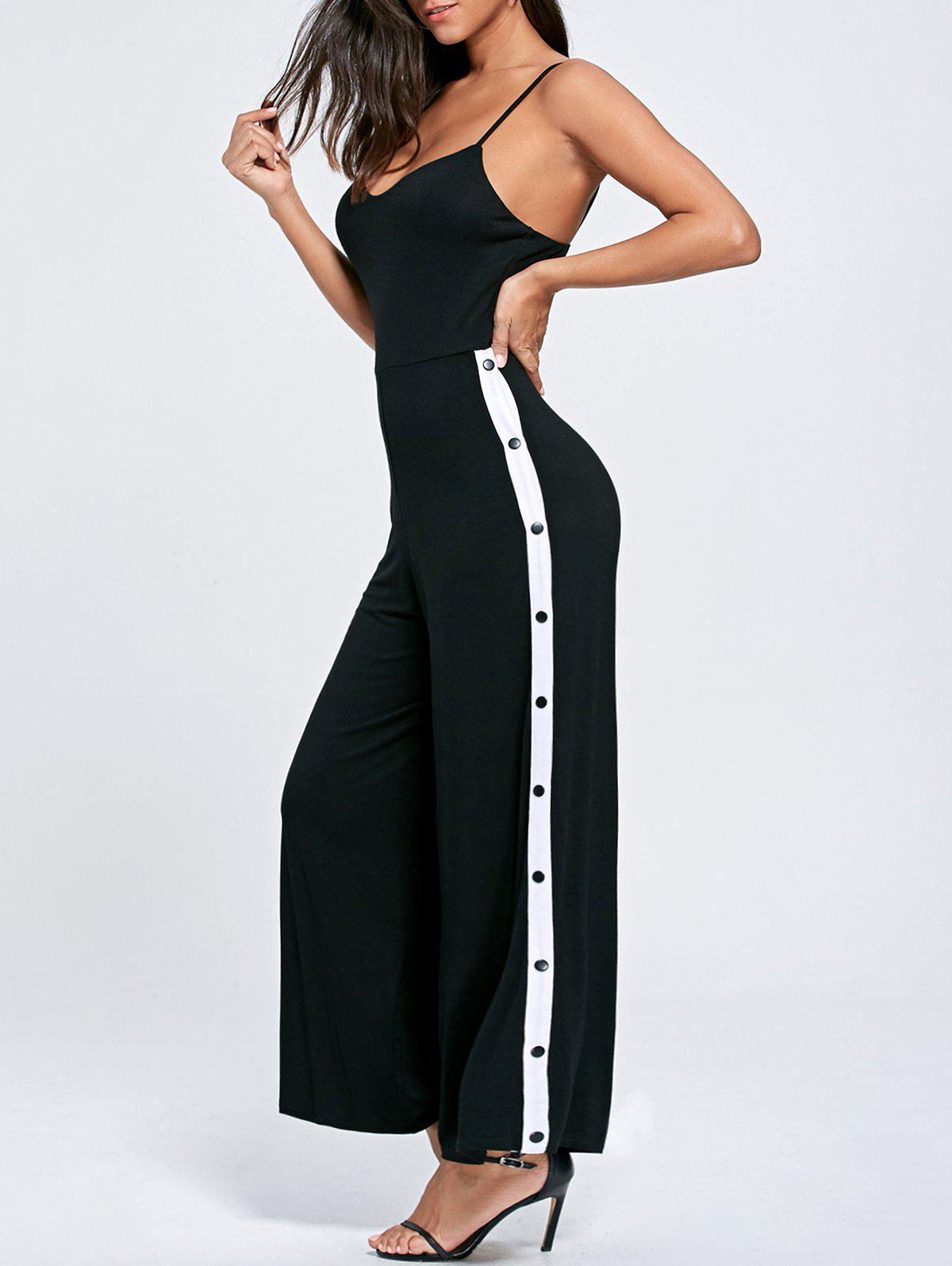 Color Block Buttoned High Slit Slip Jumpsuit - BLACK L