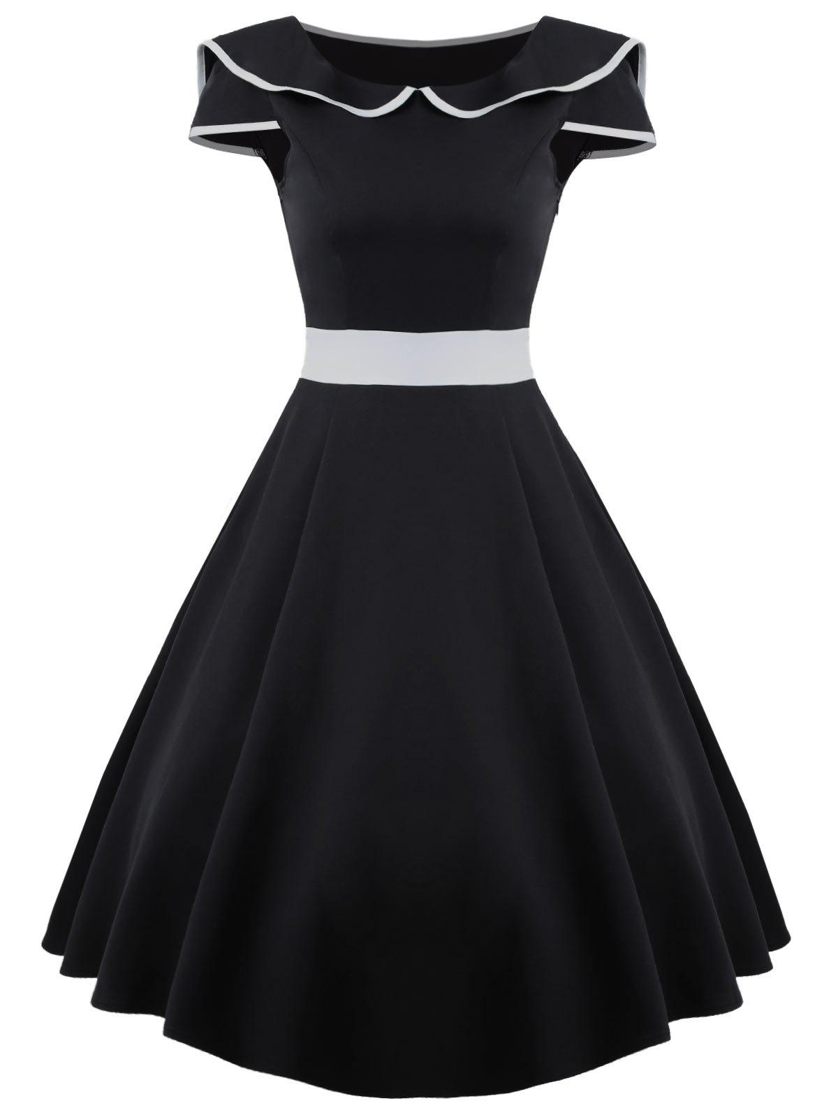 A Line Midi Vintage Dress - Noir 2XL