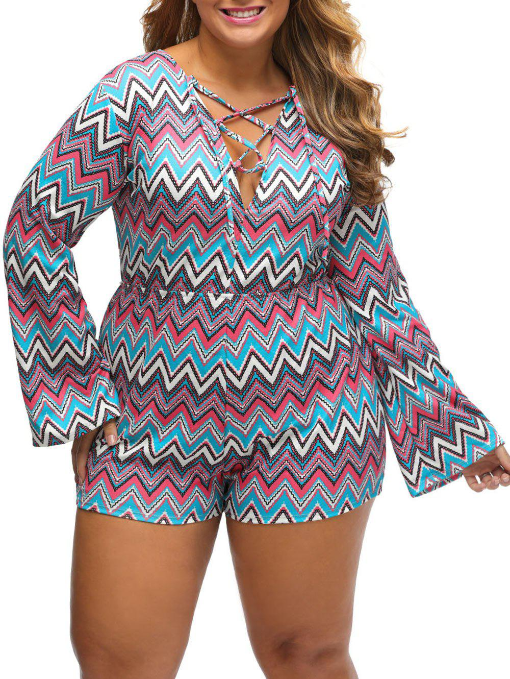Plus Size Zig Zag Lace Up Romper - BLUE 2XL